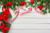 Joyful christmas background, top view - 175360166
