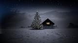 Hütte mit Christbaum - 175361131