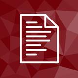 Dokument mit Text - Icon mit geometrischem Hintergrund rot - 175361925
