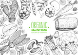 Healthy food frame vector illustration. Vegetables, meat and fish hand drawn. Organic products set. Farm market food collection - 175362379