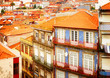 old houses in historic part of town, Porto, Portugal, retro toned