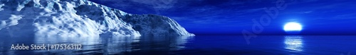 Papiers peints Bleu fonce sunset in Antarctica, iceberg in the ocean at sunset, ice beach and sun, 3d rendering