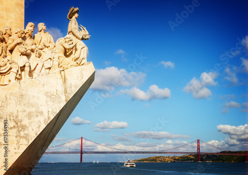 The Monument to the Discoveries in Lisbon and bridge of 25th April, Lisbon, Port Poster