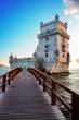 Torre of Belem in sunset light, famouse landmark of Lisbon, Portugal, retro toned