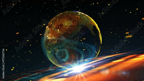 Earth planet holographic/The Earth planet holographic virtual model on an abstract technological background. Background made of different elements of pcb, particles and optical flares.