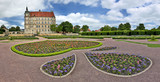 Panoramic view of Palace Güstrow (Germany) with palatial garden - 175366119