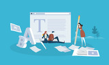 Blogging. Flat design people and technology concept. Vector illustration for web banner, business presentation, advertising material. - 175367106