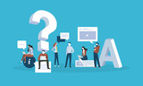 FAQ. Flat design business people concept for answers and questions. Vector illustration for web banner, business presentation, advertising material. - 175367128