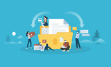 Download and upload. Flat design people and technology concept. Vector illustration for web banner, business presentation, advertising material. - 175367918