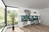 Furnished modern bright room with workstations - 175368733