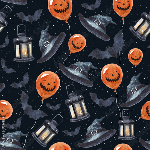Materiał do szycia Watercolor Halloween seamless pattern. Scary pumpkins, lanterns with candles inside, witch hats, bats and stars sky on the background.