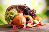 Autumn nature concept. Fall fruit and vegetables on wood. Thanksgiving dinner. - 175370147