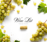 wine list background; sweet white grapes and leaf - 175370944