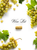 wine list background; sweet white grapes and leaf - 175370947
