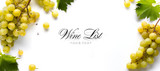 wine list background; sweet white grapes and leaf - 175370956