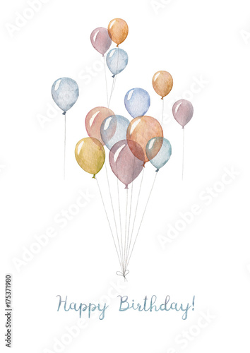 A hand made Happy Birthday card with illustration of watercolor balloons. - 175371980
