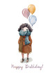 A cozy Happy Birthday card made in watercolor with illustration of a girl hiding in a warm knitted scarf, holding a bunch of balloons. For a birthday of the dearest friend!