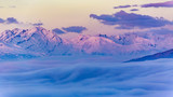 Scenic panorama sunset landscape of Crans-Montana range in Swiss Alps mountains with peak in background, Crans Montana, Switzerland. - 175374746