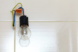 Small bulb hanging on wires - 175374923