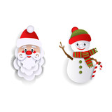Paper cut Santa Claus and snowman, Christmas decoration elements, flat style vector illustration isolated on white background. Flat style Santa Claus and snowman decoration elements - 175375548