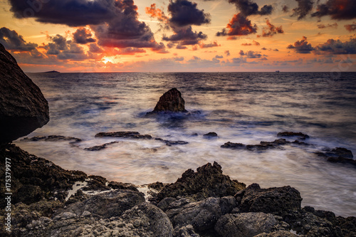 Foto op Canvas Cappuccino Picturesque Sunset at the Sea