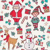 Cute christmas winter santa doodle background