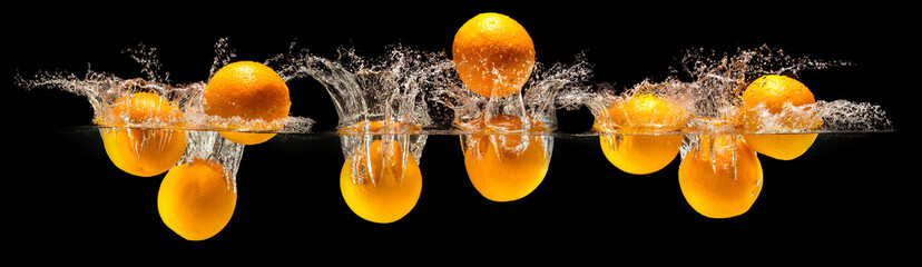 Group of fresh fruits falling in water © boule1301