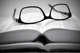 Glasses on an open Arabic German dictionary - 175392786