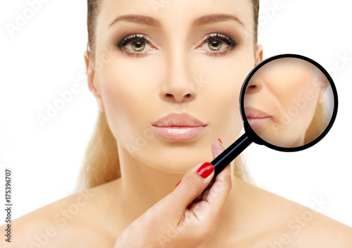 Fototapeta Aging. Mature woman-young woman.Face with skin problem.