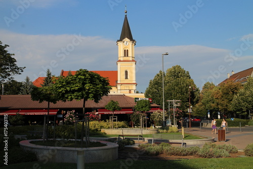 The church on Siófok main square, Balaton, Hungary Poster