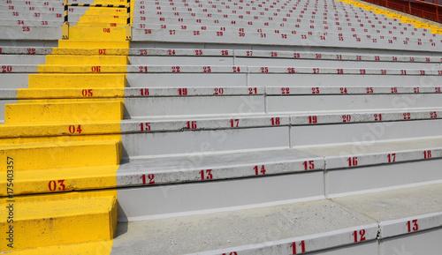 many numbers on the stadium bleachers