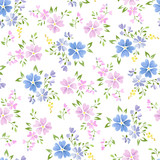 Seamless floral pattern with cute small abstract flowers - 175403749