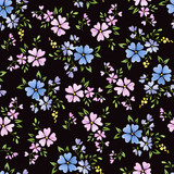Seamless floral pattern with cute small abstract flowers a dark background - 175403758