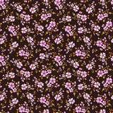 Seamless floral pattern with cute small abstract flowers a dark background - 175403769