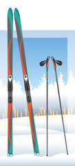 cross-country skis and ski poles with snow-covered trees in bsckground © yojo