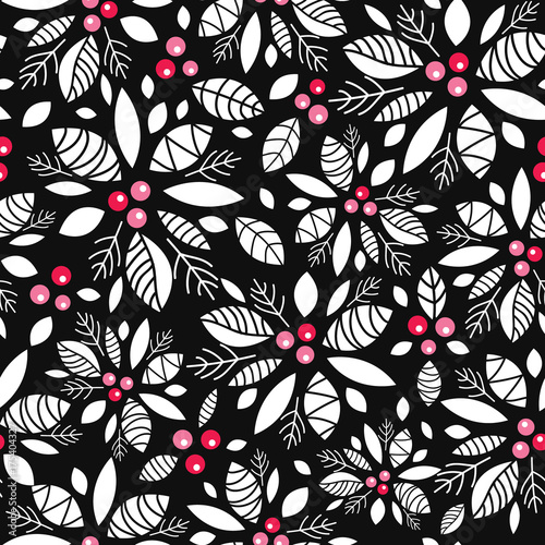 Materiał do szycia Vector holly berry black, white, red holiday seamless pattern background. Great for winter themed packaging, giftwrap, gifts projects.