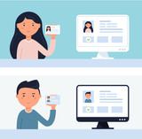 People Holding up ID Cards. Account Verification Vector Illustration - 175406920