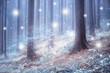 Beautiful blue color blurred foggy forest trees with illustrated abstract snowflakes. - 175407142