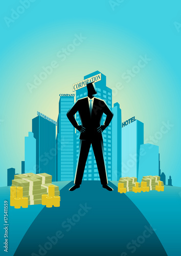 Businessman standing in front of commercial buildings and offices