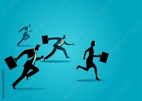 Businessmen racing with businesswoman