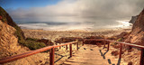 Stairs leading to the ocean at Crystal Cove state beach - 175413726