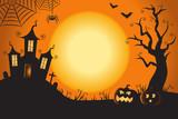 Halloween Spooky Nighttime Scene Horizontal Background 1 - 175416312