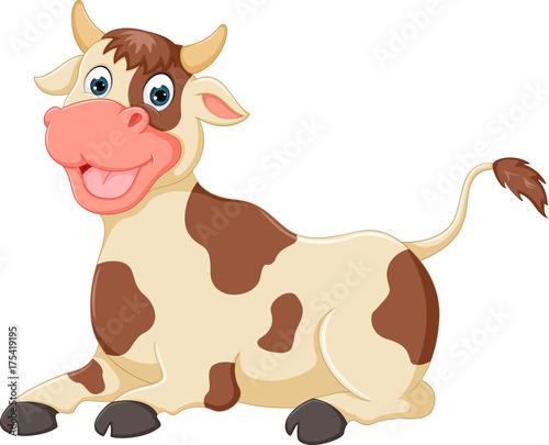 Fotobehang Boerderij cute cow cartoon sitting with smile