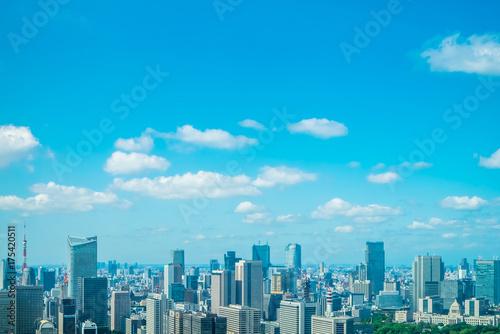 Deurstickers Blauw 東京風景