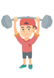 Strong caucasian child lifting a heavy weight barbell. Little boy in sportswear training with barbell. Happy boy holding a barbell. Vector sketch cartoon illustration isolated on white background. - 175422539