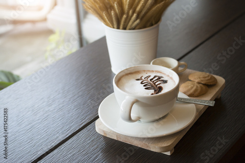 Fotobehang Chocolade Hot chocolate in white cup