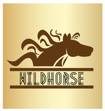 Wild horse text and icon vector on gold background - 175423948
