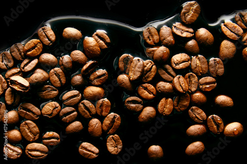 Fotobehang Koffiebonen Coffee beans / Coffee is a brewed drink prepared from roasted coffee beans
