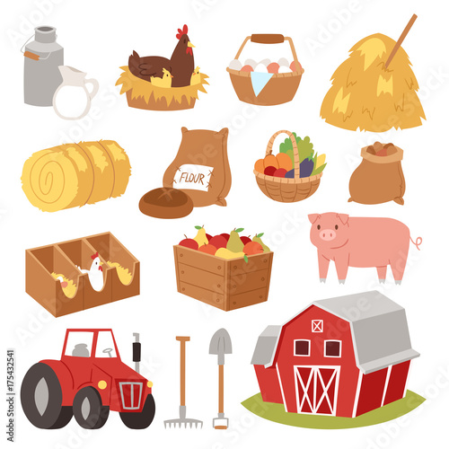 Aluminium Boerderij Funny landscape farm tools cartoon farming house symbols village animal agriculture vector illustration.