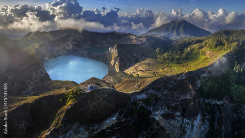 Fotobehang Grijze traf. Panoramic Aerial view of Kelimutu volcano and its crater lakes, Flores, Indonesia